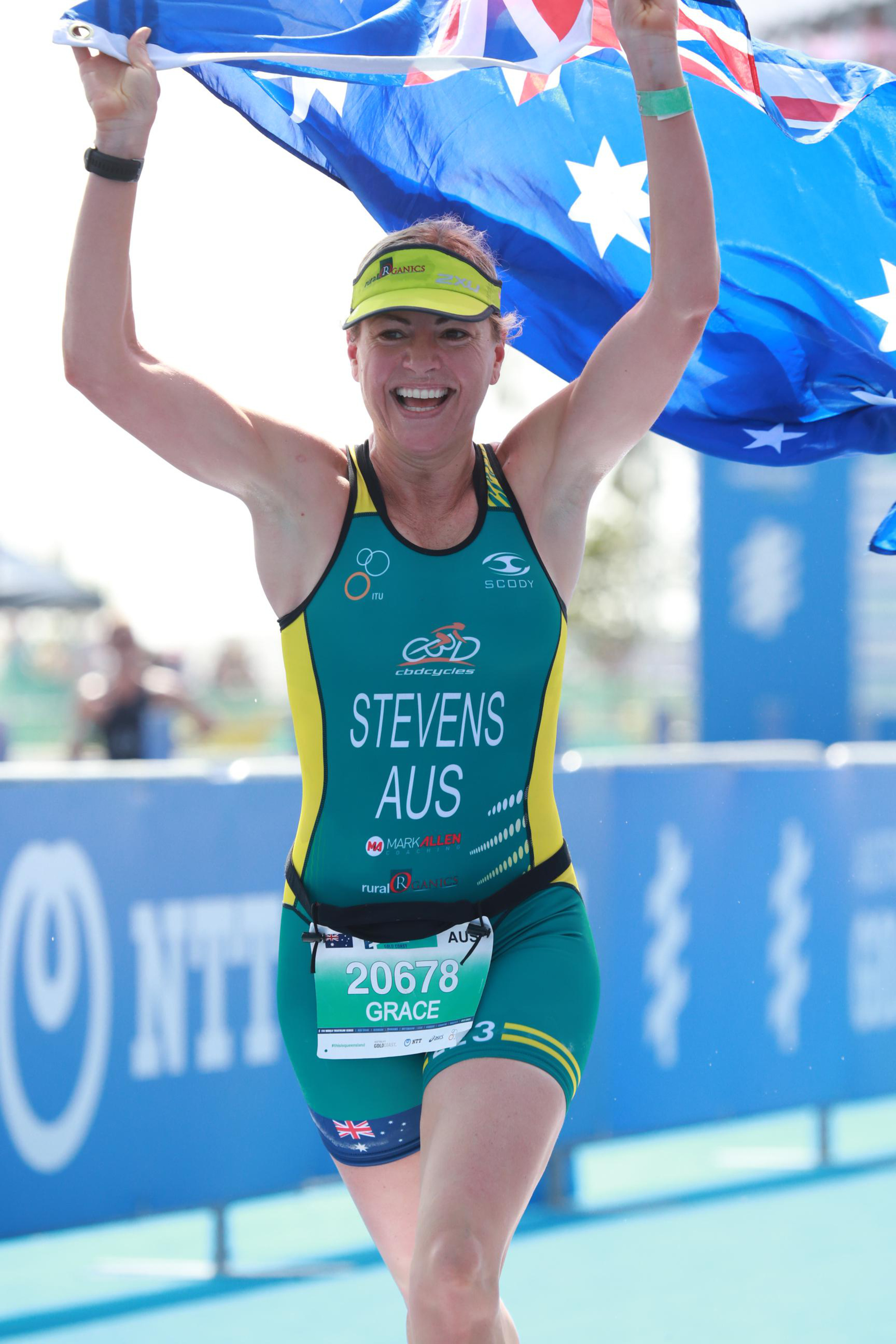 Grace racing for Australia at ITU Age-group Triathlon World Champs 2018