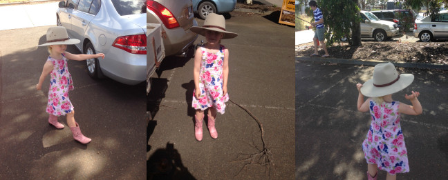 Amelia and Akubra in stride. She can't help it. It's in her blood.