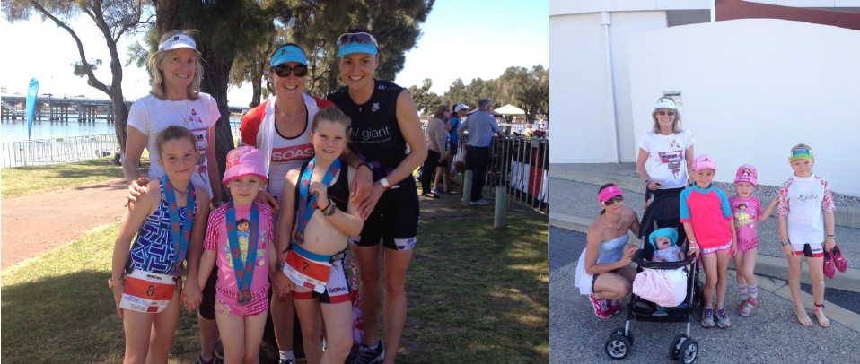Janie with daughters; Caroline, Alice and Grace and grandchildren; Charli, Lilli, Amelia and Baby Grace at, the 2013 WA, Mandurah 70.3 Ironman.