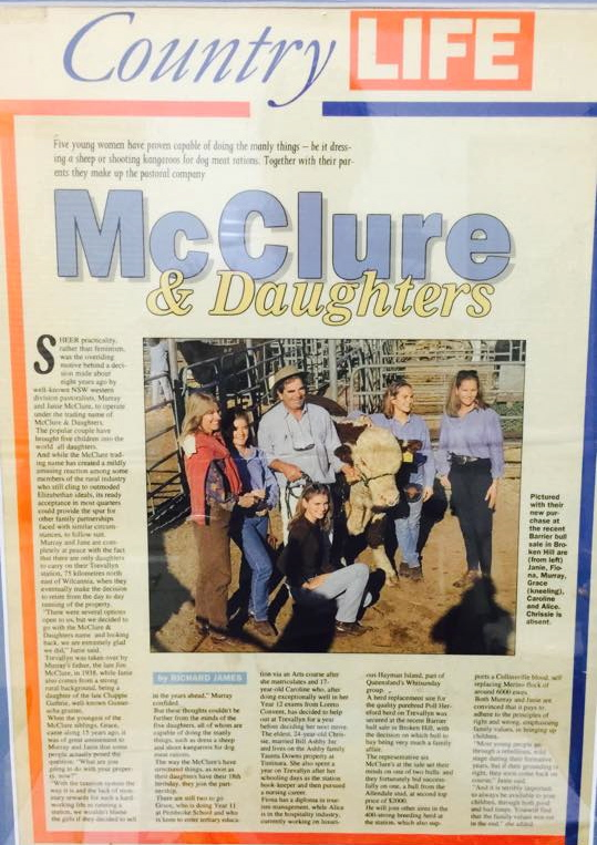 An original article on Janie McClure & Murray McClure & their 5 daughters