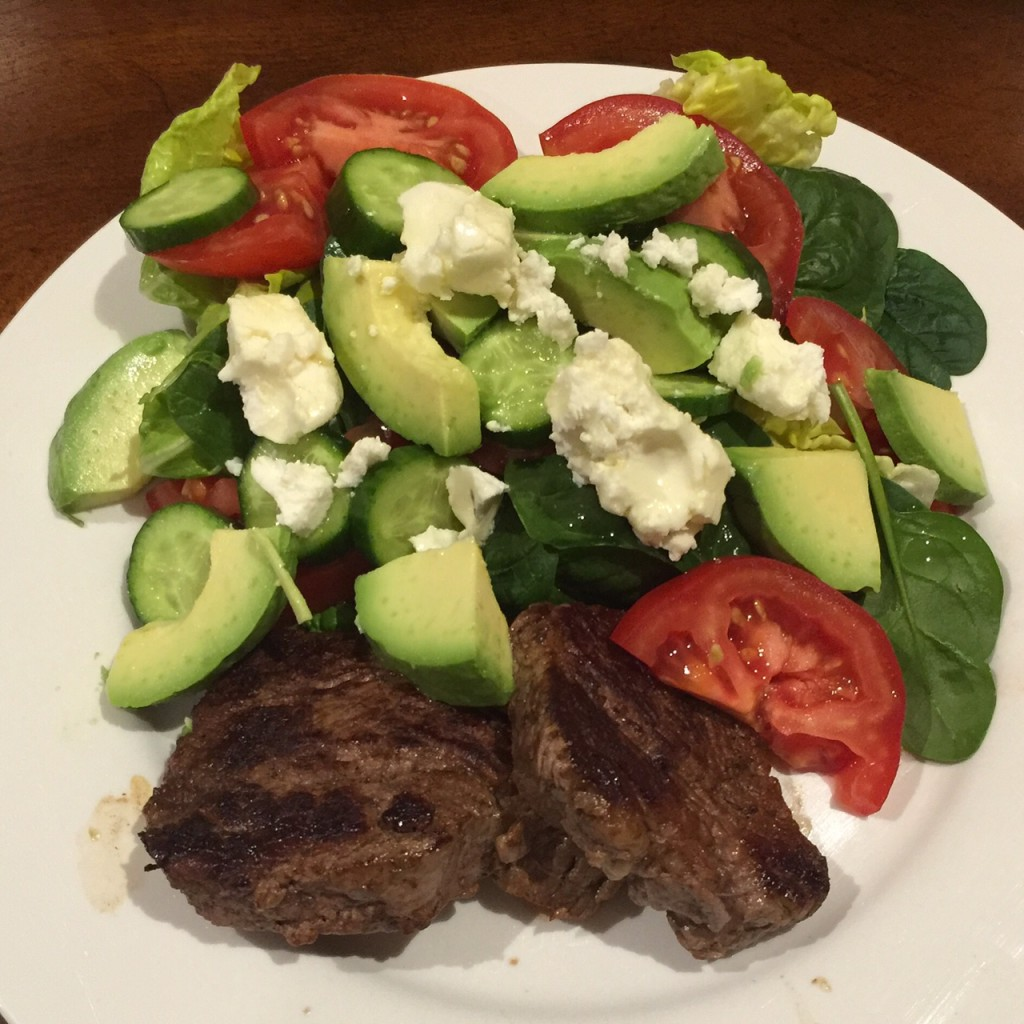 McClure & Daughter's Organic Eye-fillet with baby spinach, tomato, cucumber, fetta, olive-oil and himalyan sea-salt.