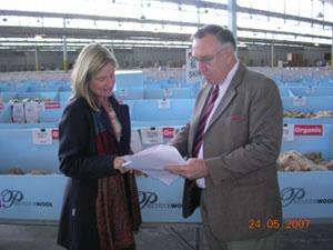 Janie with Geoff Redden from Elders Premier Wool