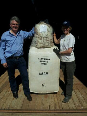 December was shearing time at Nelyambo Sydney Road. Eamon Timms and Janie McClure are pictured holding a lovely fleece which has been kindly donated to the Royal Childrens Good Friday Appeal. All fleeces donated will be pressed up and the bales auctioned in April 2014 with all funds donated to the worthy cause.