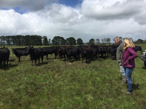 Janie from Rural Organics visiting with John Sambell